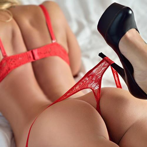 Sexy Girl, Red Lingerie, Black Heels